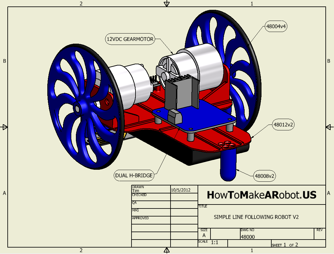 simple line following robot v2 assembly sheet 1 of 2  u2013 how